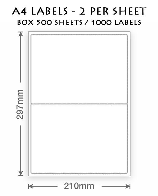 A4 LABELS - 2 PER SHEET (BOXX 500 SHEETS)