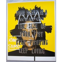 """KEEP LOVIN' SILVER & BLACK DROP SHADOW JEAN-MICHEL BASQUIAT'S NIGHTMARE"" Hand-finished Print by PURE EVIL"