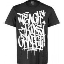 VANDAL WEAR T-SHIRT  -  TEACH KIDS GRAFFITI - BLACK (LARGE)
