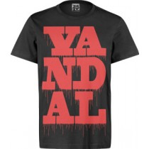 VANDAL WEAR T-SHIRT  -  VANDAL DRIPS RED ON BLACK (MEDIUM)