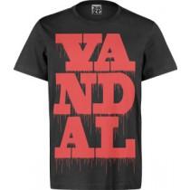 VANDAL WEAR T-SHIRT  -  VANDAL DRIPS RED ON BLACK (MEDIUM)